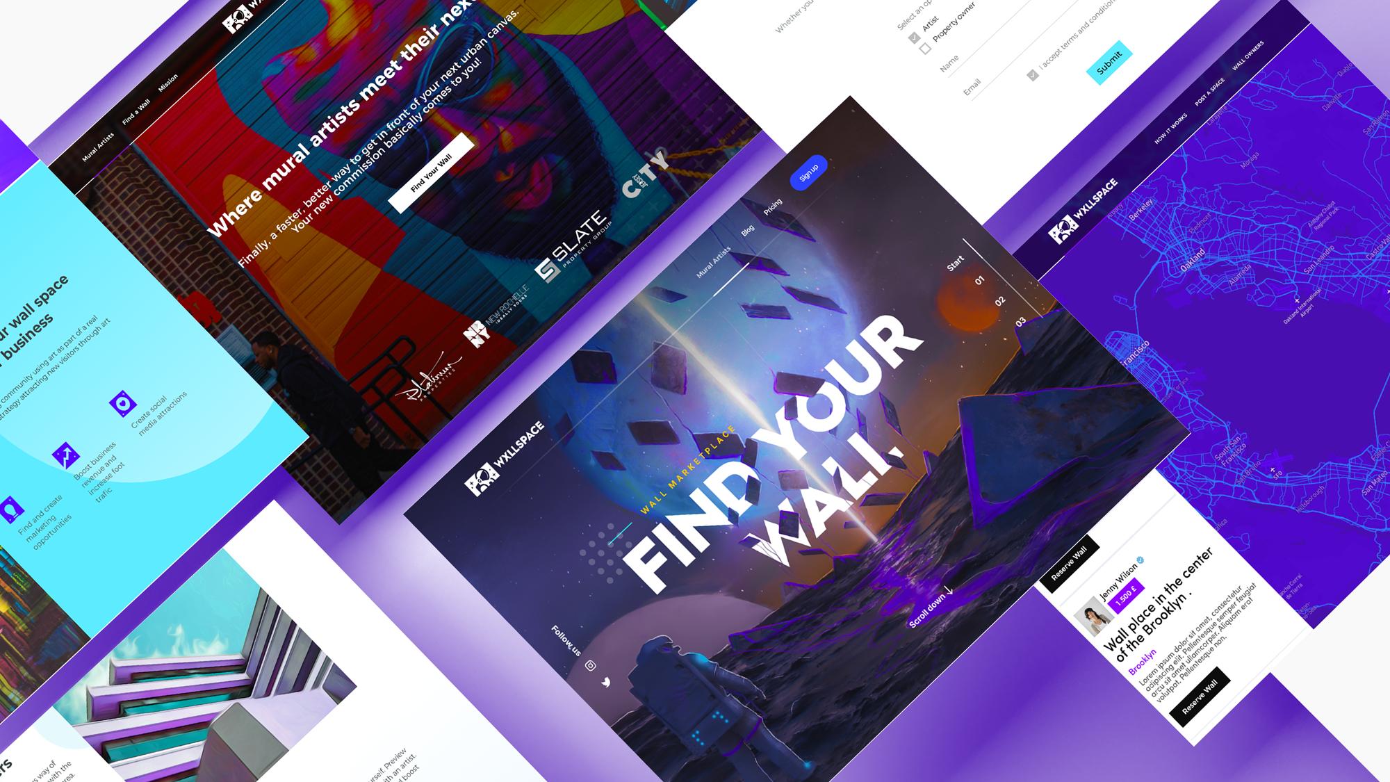 Wxllspace Website screens